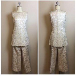 Vintage 1970s Leslie Fay Silver Brocade Pant Set